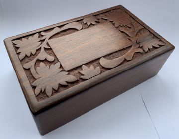 "Wooden  10x6"" CARVED Floral with SLIDING LID Ash Memory Keepsake Box"
